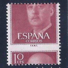 Sellos: EDIFIL 1143 GENERAL FRANCO 1955 (VARIEDAD...GRAN DESPLAZAMIENTO HORIZONTAL DEL DENTADO). MNH. LUJO.. Lote 107398363