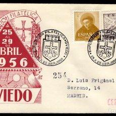 Sellos: ESPAÑA 1956 SOBRE - MATASELLO ESPECIAL. I EXPOSICIÓN FILATÉLICA. OVIEDO. Lote 107426690