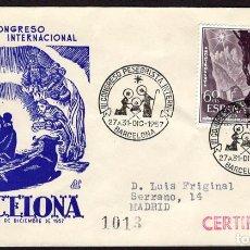 Sellos: ESPAÑA 1957 SOBRE - MATASELLO ESPECIAL. III CONGRESO PESEBRISTA INTERNACIONAL. BARCELONA. Lote 107426915