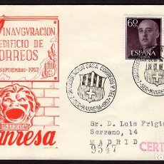 Sellos: ESPAÑA 1957 SOBRE - MATASELLO ESPECIAL. INAUGURACIÓN EDIFICIO DE CORREOS. MANRESA. Lote 107426999