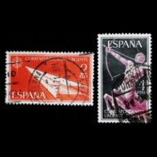 Sellos: ESPAÑA 1956. EDIFIL 1185/86 1186. ALEGORÍAS. USADO. Lote 53828709