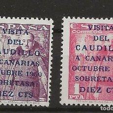 Sellos: R26/ ESPAÑA EDIFIL 1088/89, MNH **, 1951, VISITA DEL CAUDILLO A CANARIAS, CATALOGO 270 €, MAGNIFICOS. Lote 109003335
