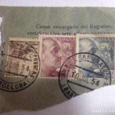 Sellos: SELLOS EDIFIL 1044-1048-1053 EN CARTA CERTIFICADA CON MATASELLOS DE 1954 SANT ESTEBAN SESROVIRAS . Lote 109308935