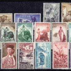 Sellos: ESPAÑA AÑO 1960 - SERIE COMPLETA, FIESTA NACIONAL TAUROMAQUIA EDIFIL 1254/1269 MNH**. Lote 109446799