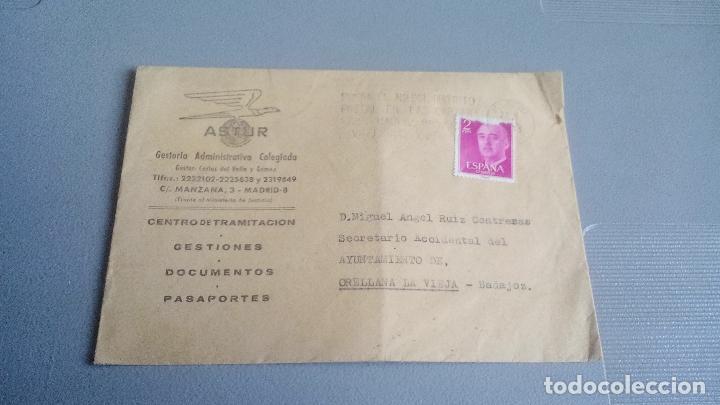 1973 - ASTUR - GESTORIA ADMINISTRATIVA (MADRID) - SOBRE CIRCULADO DESDE ORELLANA LA VIEJA (BADAJOZ) (Sellos - España - II Centenario De 1.950 a 1.975 - Cartas)
