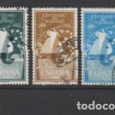 Sellos: 1180/1182 SELLOS AÑO 1955 SERIE CENTENARIO DEL TELEGRAFO, USADA.. Lote 117391851