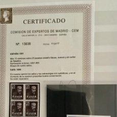 Sellos: MAGNÍFICO CANARIAS EDIFIL Nº 1090 EN BL DE 4 SIN FIJASELLOS ** GRAN LUJO CERTIFICADO CEM. Lote 118537679