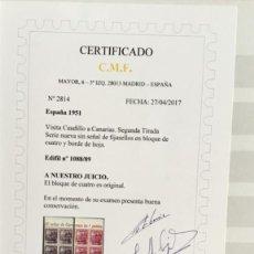 Sellos: EDIFIL 1088/89 NUEVA EN BLOQUE DE CUATRO BORDE HOJA** (CAT.1210 €) GRAN LUJO - CERTIFICADO CMF. Lote 118538627