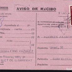 Sellos: F23-62-AVISO RECIBO CERTIFICADO HOSPITALET LLOBREGAT-BARCELONA 1978. Lote 119907083
