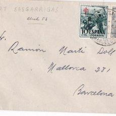 Sellos: F24-27-CARTA SAN CUGAT SASGARRIGAS BARCELONA 1953. TUBERCULOSOS. Lote 119985035