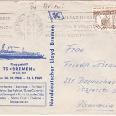 Sellos: F24-39-CARTA SANTA CRUZ TENERIFE-ALEMANIA 1969. PUBLICIDAD CRUCERO DAKAR/SENEGAL. Lote 119990947