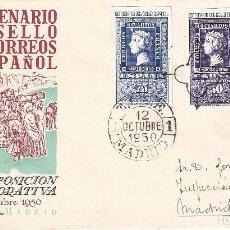Sellos: EDIFIL 1075-1076 CENTENARIO DEL SELLO ESPAÑOL. SOBRE PRIMER DÍA DE CIRCULACIÓN 12-10-1950.. Lote 120684035