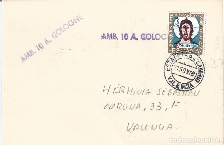 SOBRE CON MATASELLOS ESTAFETA DE CAMBIO VALENCIA FECHA 21-11-1969. SELLO AMB. 10 A. COLOGNE. RARO. (Sellos - España - II Centenario De 1.950 a 1.975 - Cartas)