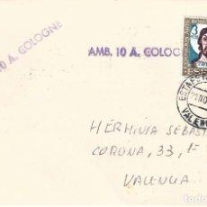 Sellos: SOBRE CON MATASELLOS ESTAFETA DE CAMBIO VALENCIA FECHA 21-11-1969. SELLO AMB. 10 A. COLOGNE. RARO.. Lote 120688751