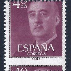 Sellos: EDIFIL 1148 GENERAL FRANCO 1955 (VARIEDAD...GRAN DESPLAZAMIENTO HORIZONTAL DEL DENTADO). MNH. LUJO.. Lote 121081887