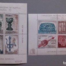 Sellos: ESPAÑA - 1975 - EDIFIL 2252/2253 - SERIE COMPLETA 2 HOJITAS - MNH** - NUEVAS. . Lote 121273591