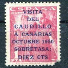 Sellos: EDIFIL 1089. 1 PTA VISITA DEL CAUDILLO A CANARIAS. LE FALTAN DIENTES. VER DESCRIPCIÓN. Lote 121375355