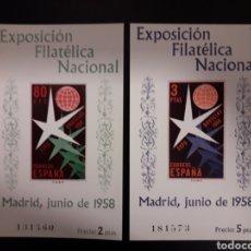 Sellos: ESPAÑA. EDIFIL 1222/3. SERIE COMPLETA NUEVA SIN CHARNELA. EXPOSICIÓN FILATÉLICA. EXPO BRUSELAS 1958.. Lote 121405040