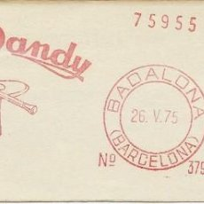 Sellos: AÑO 1975. FRANQUEO MECÁNICO. FRAGMENTO. BADALONA. VARÓN DANDY.. Lote 121472303
