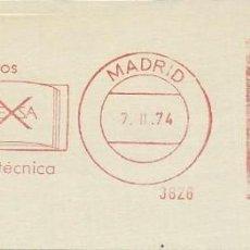 Sellos: AÑO 1974. FRANQUEO MECÁNICO. FRAGMENTO. MADRID. REGALE LIBROS, ARTE, CIENCIA Y TÉCNICA. CULTURA.. Lote 121472987