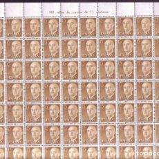 Sellos: AÑO 1955 - EDIFIL 1144 - GENERAL FRANCO - VALOR DE 0,15 PESETAS. PLIEGO COMPLETO DE 100 SELLOS. Lote 237536290