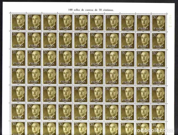 AÑO 1955 - EDIFIL 1149 - GENERAL FRANCO - VALOR DE 0,50 PESETAS. PLIEGO COMPLETO DE 100 SELLOS (Sellos - España - II Centenario De 1.950 a 1.975 - Nuevos)