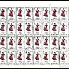 Sellos: ESPAÑA PLIEGO DE 50 SELLOS TRAJES TIPICOS (CADIZ) AÑO 1967 NUEVOS. Lote 122031519