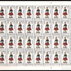 Sellos: ESPAÑA PLIEGO DE 50 SELLOS TRAJES TIPICOS (CASTELLON) AÑO 1967 NUEVOS. Lote 122031595