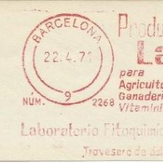 Sellos: AÑO 1971. FRANQUEO MECÁNICO. FRAGMENTO. BARCELONA. PRODUCTOS LAFI PARA AGRICULTURA Y GANADERÍA.. Lote 122168827