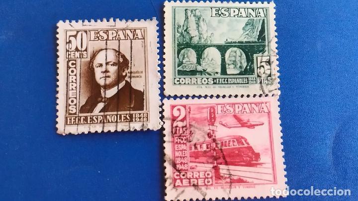 USADO. AÑO 1948. EDIFIL 1037 - 1039. SERIE COMPLETA. CENTENARIO DEL FERROCARRIL. (Sellos - España - II Centenario De 1.950 a 1.975 - Usados)