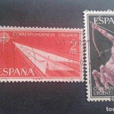 Sellos: ESPAÑA,1956,ALEGORÍAS,CORREO URGENTE,EDIFIL 1185-1186,COMPLETA,USADOS,(LOTE AR). Lote 122774339