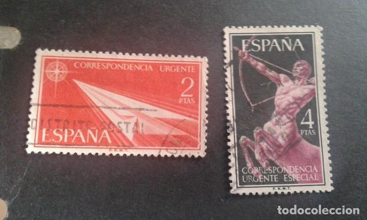 ESPAÑA,1956,ALEGORÍAS,CORREO URGENTE,EDIFIL 1185-1186,COMPLETA,USADOS,(LOTE AR) (Sellos - España - II Centenario De 1.950 a 1.975 - Usados)