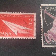 Sellos: ESPAÑA,1956,ALEGORÍAS,CORREO URGENTE,EDIFIL 1185-1186,COMPLETA,USADOS,(LOTE AR). Lote 122774395