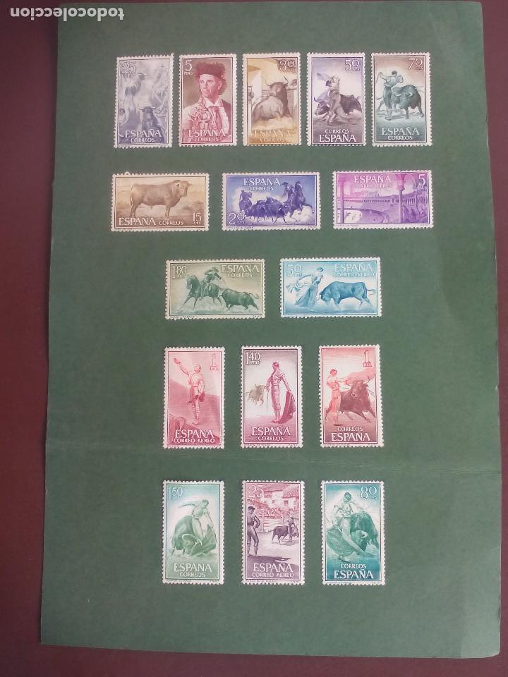 Sellos: Toros, Tauromaquia serie completa España 1960 Edifil 1254 a 1269 - sellos pegados sobre cortulina - Foto 2 - 126784407