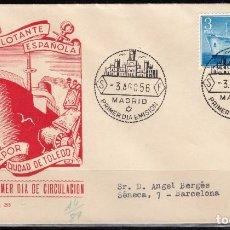 Sellos: 1956, SPD EXPOSICIÓN FLOTANTE EN EL BARCO CIUDAD DE TOLEDO, PRIMER DÍA ,EDIFIL Nº 1191. Lote 127588667