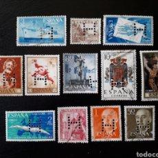 Sellos: ESPAÑA. PERFORADO 'H'. LIBRERÍA Y CASA EDITORIAL HERNANDO SA. (MADRID). 12 SELLOS. Lote 128690294
