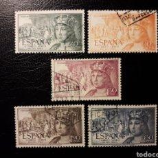 Briefmarken - ESPAÑA. EDIFIL 1111/5. SERIE COMPLETA USADA. FERNANDO EL CATÓLICO. SERIE AÉREA. 1952. - 131877097