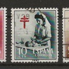 Sellos: R43/ ESPAÑA USADOS 1953, EDF. 1121/23, CAT. 10 €, PRO TUBERCULOSOS. Lote 134553479
