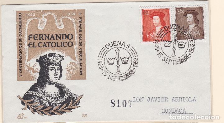 ESPAÑA.- SOBRE CON MATASELLO CONMEMORATIVO DUEÑAS, SELLOS 1109 Y 1110 (Sellos - España - II Centenario De 1.950 a 1.975 - Cartas)