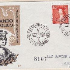Sellos: ESPAÑA.- SOBRE CON MATASELLO CONMEMORATIVO DUEÑAS, SELLOS 1109 Y 1110. Lote 136203738