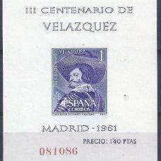 Sellos: EDIFIL 1345 III CENTENARIO DE LA MUERTE DE VELÁZQUEZ (HOJITA SIN DENTAR). 1961. MNH **. Lote 136605206