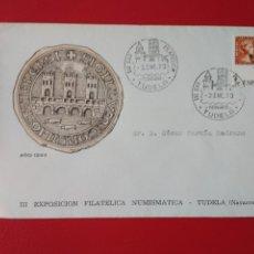 Sellos: SOBRE CON SELLO Y MATASELLO III 3 EXPOSICION FILATELICA NUMISMATICA TUDELA NAVARRA AÑO 1973. Lote 137760846