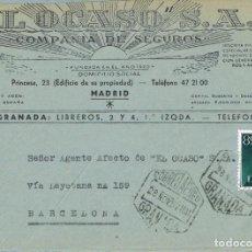 Sellos: 0554. FRONTAL COMERCIAL AEREO GRANADA 1957. SEGUROS OCASO. Lote 139082462