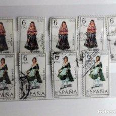 Sellos: ESPAÑA 1969, 9 SELLOS TRAJES TÍPICOS, LEON Y LERIDA . Lote 140330582