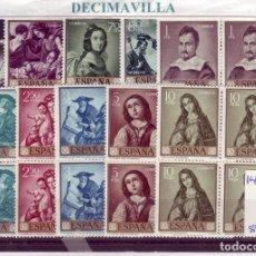 Sellos: ESP149, ESPAÑA, SPAIN, AÑO 1962, EDIFIL 1418/27, FRANCISCO DE ZURBARAN, 4 SERIES NUEVAS. Lote 140785206