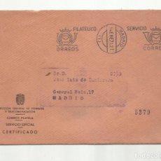 Sellos: CERTIFICADA 1971 DIRECCION GENERAL DE CORREOS DE MADRID A MADRID SERVICIO FILATELICO. Lote 141445834