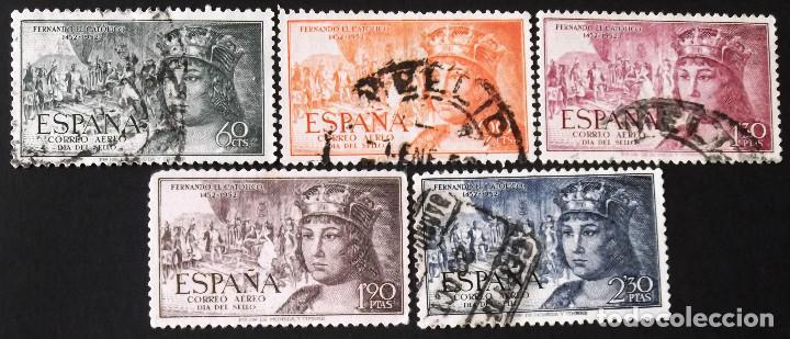 EDIFIL 1111-15, SERIE USADA. CORREO AÉREO. FERNANDO EL CATÓLICO (AÑO 1952). (Sellos - España - II Centenario De 1.950 a 1.975 - Usados)