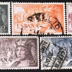 Sellos: EDIFIL 1111-15, SERIE USADA. CORREO AÉREO. FERNANDO EL CATÓLICO (AÑO 1952).. Lote 141754602
