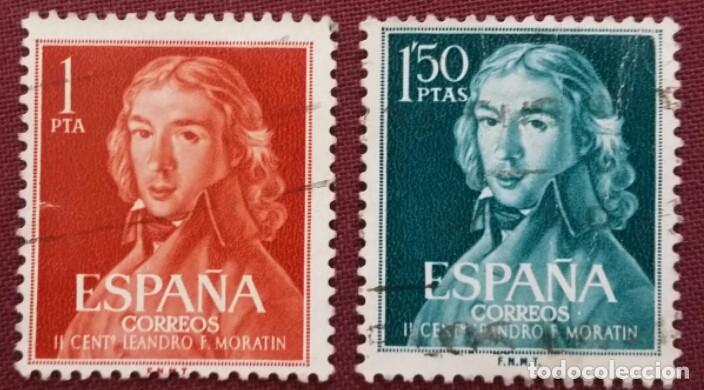 ESPAÑA. II CENTENARIO DE LEANDRO FERNÁNDEZ DE MORATÍN, 1961. 2 VALORES (Nº 1328-1329 EDIFIL). (Sellos - España - II Centenario De 1.950 a 1.975 - Usados)