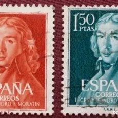 Sellos: ESPAÑA. II CENTENARIO DE LEANDRO FERNÁNDEZ DE MORATÍN, 1961. 2 VALORES (Nº 1328-1329 EDIFIL).. Lote 142026354
